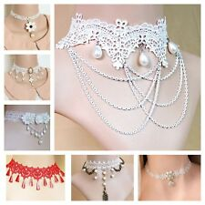 Necklace Choker Lace Jewelry White Unique Gift Holiday Halloween Party