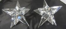 4 Crystal STAR Candle Holders 3D Glass 9 Points Rosenthal Used