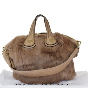 Auth GIVENCHY Logo 2Way Hand Bag Fox Fur Leather Brown Gold-tone Italy 78BS240