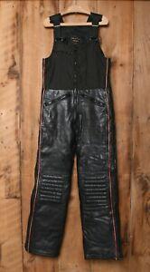 Vintage YAMAHA Maxim Wear Black Leather Snowmobile Bibs Overalls Sz. M / MT