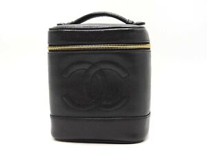 Auth CHANEL CC Vanity Bag Cosmetic Pouch Caviar Skin Leather Black A01998 V-5373