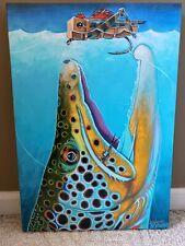 Derek DeYoung Trout Art Painting Canvas Limited Edition #1 Of 50 Hopper Dropper