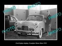 OLD LARGE HISTORIC PHOTO OF 1953 FORD ZEPHYR MODEL FRANKFORT MOTOR SHOW DISPLAY