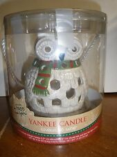 """NEW Yankee Candle Tea Light Holder Sparkling Snow OWL 7"""" tall with 4 tea lights"""