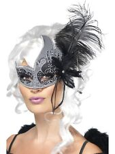Sexy Halloween Black & Silver Dark Angel Masquerade Ball Party Mask w Feathers