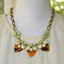 Statement Ivory & Neon Green Necklace w/ Tortoise Backing Antic Gold Chain