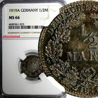 Germany-Empire Wilhelm II Silver 1919 A 1/2 Mark NGC MS66 RAINBOW TONED  KM# 17