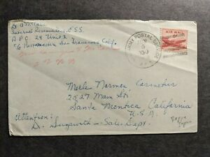 APO 24 Unit 2, KOREA or JAPAN 1950 Army Cover ESS Officer's Mail