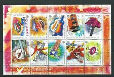 AUSTRALIA 2001 ROCK AND POP MUSIC SHEETLET OF 10 UNMOUNTED MINT,