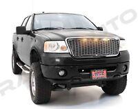 04-08 Ford F150 Raptor Chrome Front Hood Mesh Grille+Shell+Amber 3x LED Light