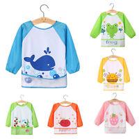JP_ BL_ Kids Baby Toddler Waterproof Long Sleeve Bib Cartoon Feeding Smock Apr