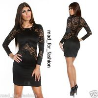 Sexy Black Long Sleeved Mini Dress with Lace. UK 8.10.12 EU 36.38.40.