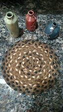 """Braided Primitive Candle Mat Trivet / 8"""" Black Brown Tan/Price Is For One (1)"""