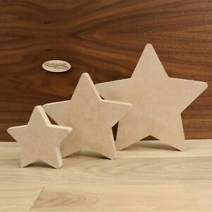 Freestanding MDF Stars 18mm Thick, Wooden, Shape, Craft, 10cm - 20cm, Set of 3