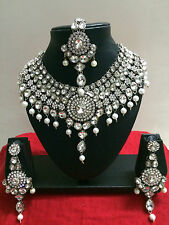 Bollywood Indian Bridal Wear Necklace Earring Silver Tone Fashion Jewellery Set