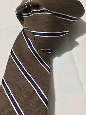 Bar III Mens Cotton Silk Stripe Tie Brown Navy White