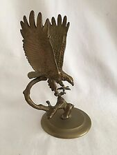 American Eagle Solid Brass Paperweight Spread Wing 2 Pc Open Talon Vintage