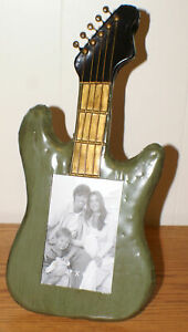 GUITAR PHOTO FRAME Distressed Metal Holds 4 X 6 photo Hangs or Stands NEW