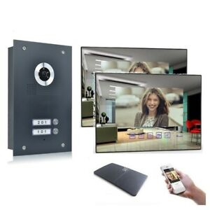 2 Familienhaus Video Türsprechanlage 7'' Monitor Kamera 170° Anthrazit
