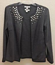 COLDWATER CREEK Woman's Grey Tank (Shell) And Matching Embellished Cardigan Sz S