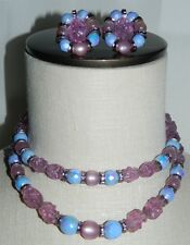 VTG HOBE Signed Silver Tone Molded Purple Plastic Beaded Necklace Earring Set