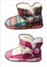 Ladies Boot Slippers Bootee Warm Lined Bow Fuchsia Red Pitlochry Sizes 3-8