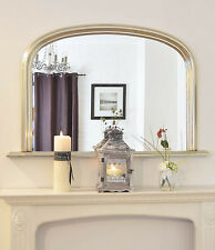 Large Antique Silver Arch top Overmantle Ornate Elegant Mirror Save ££s *NEW*