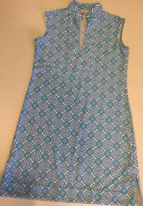"Jude Connally Dress Sz S ""Kristen"" White Blue Printed Sleeveless Summer"