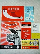 1960's CAR BATTERY & CHARGER SALES BROCHURES / LEAFLETS