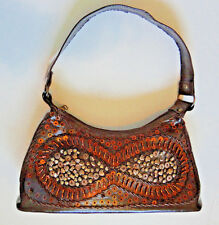 BEADED Brown BAGUETTE Sequins and Heart Beads Shoulder Bag Purse VERY NICE!