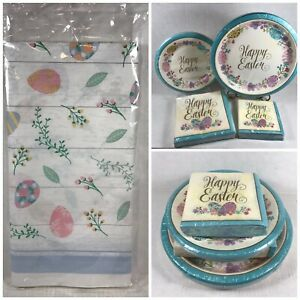 Happy Easter Paper Plates Napkins Tablecloth Service for 18 Dinner Dessert Eggs