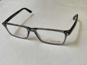 Tom Ford Eyeglasses TF5408 020 Transp Grey Crystal/Horn Optical Frame 56-16-145