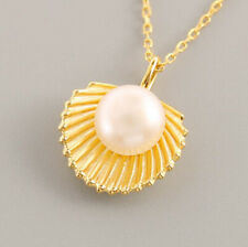 Unique Round Cut Natural Pearl Scallope Gold Plated Silver Necklaces Pendants