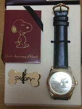 SNOOPY Fossil gold Watch PEANUTS 50th Anniversary Limited Edition Wooden Box