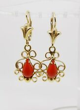 "18K YELLOW GOLD VINTAGE RED CORAL LEVER BACK DANGLE EARRINGS 1.5"" LONG - LB2282"