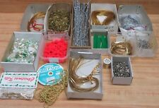 Lot #194 Assorted Christmas Crafts Supplies Chenille Wire Cord Ribbon Pins Beads
