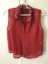 Neon Hart Sheer Shirt Blouse Top Sequins SiZe Large 12 Wine Dark Red