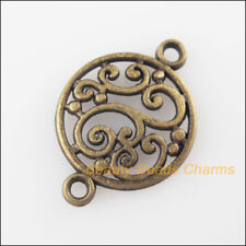 10Pcs Antiqued Bronze Tone Round Flower Charms Pendants Connectors 14x20.5mm