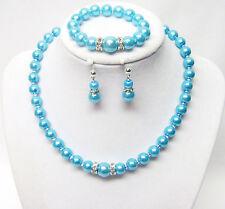 "14 ½"" Turquoise Glass Pearl Necklace/Bracelet & Earrings Set for Little Girl"