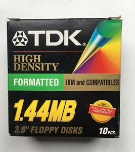 "TDK 3.5"" Floppy Disks High Density 1.44 MB IBM Compatibles Formatted NIB 10 Pack"
