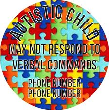 20 Large Personalised Stickers For Autistic Child Add Your Details