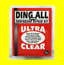 Ding All Super Ultra Surfboard Repair Fix Kit Fiberglass Resin Cloth Sand paper