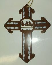 """New 6"""" Western Painted Metal Cross Ornament Cowboys Sitting on Fence"""