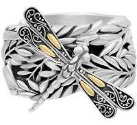 Sterling Silver 925 18K Gold DEVATA Leaf Bali Statement Ring SFM8631TT Sz 6-9