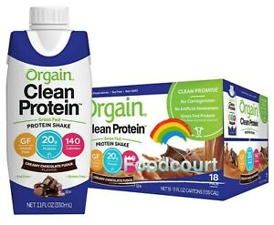 Orgain Clean Grass Fed Protein Shake Creamy Chocolate Fudge 11 fl oz, 18-count