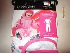 new 2 piece GIRLS CUDDL DUDS comfortech poly WHITE print  POLYESTER warmth 4T