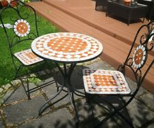 Garden Bistro Patio Table And Chairs Set Mosaic metal Foldable Used