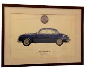 Druckgrafik, gerahmt,Jaguar Mark II,3-8 Litre,Four Seater Saloon,1963,signiert