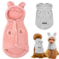 Small Dog Pajamas Soft Warm Fleece Pet Puppy Cat Clothes Rabbit Ear Hood Costume