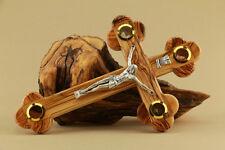 Cross Crucifix 4 Lens Olive Wood 11in La Cruz de las Catorce Estaciones 28 cm